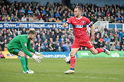 Danny Grainger (Captain) (Carlisle United) lets the ball run through to his keeper, Mark Gillespie (Carlisle United) during the EFL Sky Bet League 2 match between Hartlepool United and Carlisle United at Victoria Park, Hartlepool, England on 14 April 2017. Photo by Mark P Doherty.