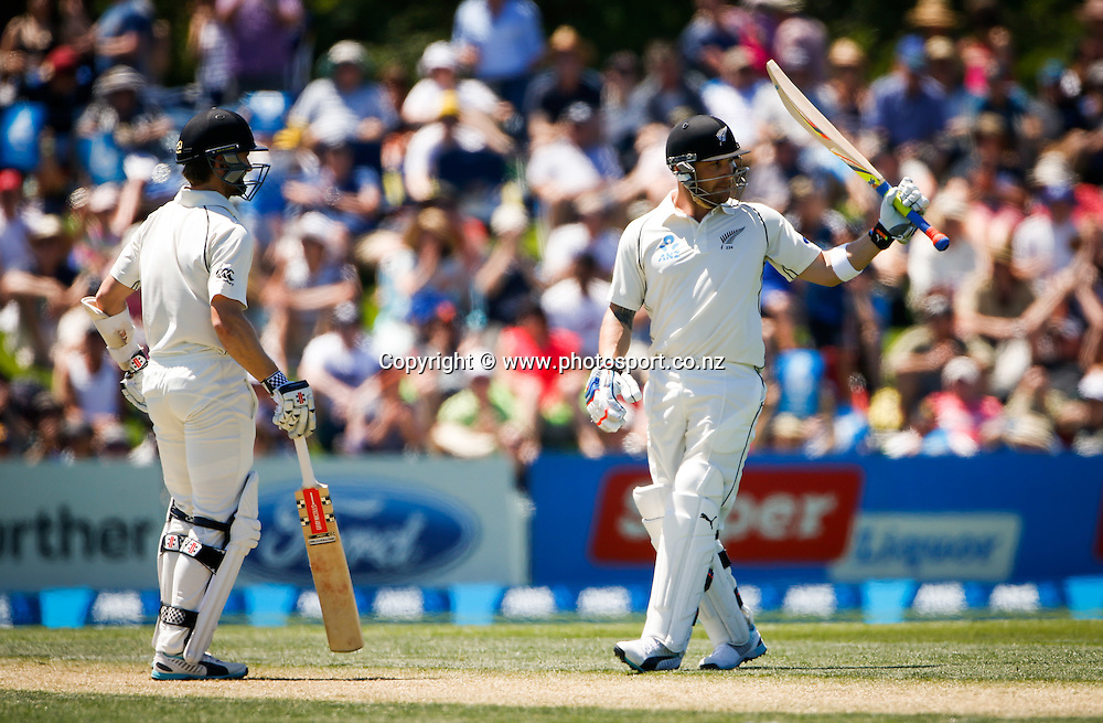 Brendon McCullum celebrates becoming the NZ player to score 1000 runs in a year. First day, ANZ Boxing Day Cricket Test, New Zealand Black Caps v Sri Lanka, 26 December 2014, Hagley Oval, Christchurch, New Zealand. Photo: John Cowpland / photosport.co.nz