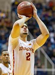 Feb 22, 2016; Morgantown, WV, USA; Iowa State Cyclones forward Abdel Nader (2) shoots a foul shot during the first half against the West Virginia Mountaineers at the WVU Coliseum. Mandatory Credit: Ben Queen-USA TODAY Sports