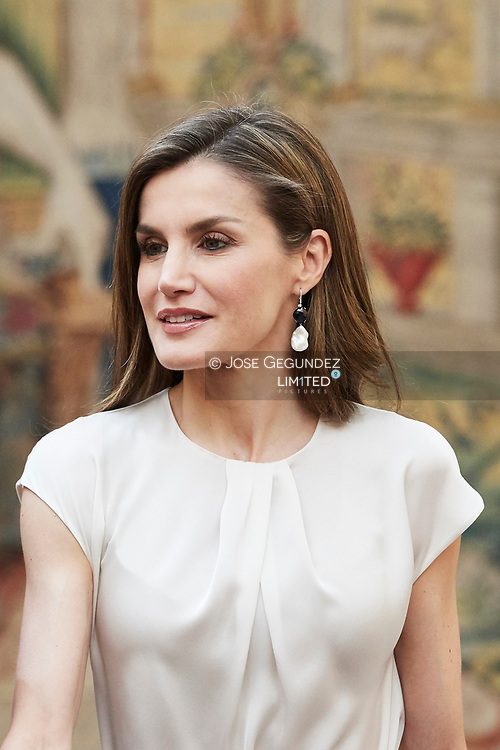 Queen Letizia of Spain  attended the annual meeting with members of Princess of Asturias Foundation at El Pardo palace on June 16, 2017 in Madrid, Spain.
