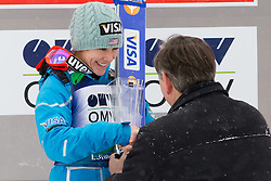 Winner Sarah Hendrickson of USA with Danilo Tuerk, president of Republic of Slovenia during trophy ceremony after the Normal Hill Individual Competition at FIS World Cup Ski jumping Ladies Ljubno 2012, on February 12, 2012 in Ljubno ob Savinji, Slovenia. (Photo By Vid Ponikvar / Sportida.com)