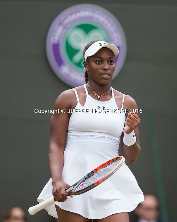 SLOANE STEPHENS (USA) macht die Faust und jubelt,Jubel, Emotion,<br /> <br /> Tennis - Wimbledon 2016 - Grand Slam ITF / ATP / WTA -  AELTC - London -  - Great Britain  - 3 July 2016.