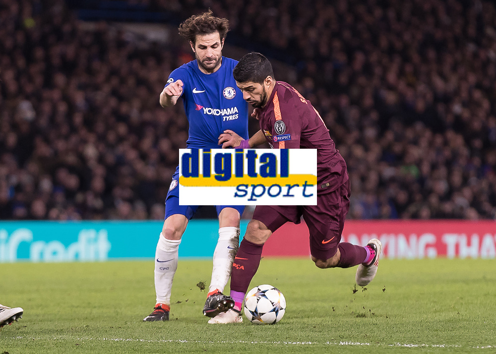 Football - 2017 / 2018 UEFA Champions League - Round of Sixteen, First Leg: Chelsea vs. Barcelona<br /> <br /> Luis Suarez (Barcelona) tries to break away from Cesc Fabregas (Chelsea FC)  at Stamford Bridge.<br /> <br /> COLORSPORT/DANIEL BEARHAM