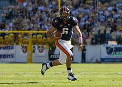 Virginia quarterback Marc Verica (6) rushes in the open field against GT.  The Virginia Cavaliers defeated the #18 ranked Georgia Tech Yellow Jackets 24-17 in NCAA Division 1 Football at Bobby Dodd Stadium on the campus of Georgia Tech in Atlanta, GA on October 25, 2008.