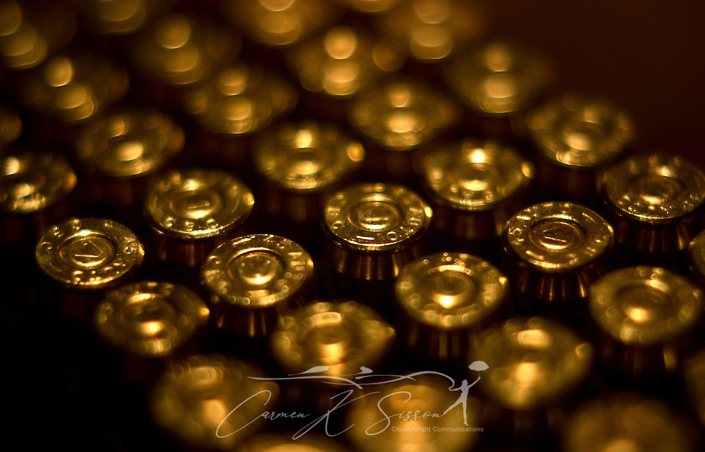 A box of .45-caliber, brass ammunition is displayed, Dec. 7, 2007, in Northport, Alabama. (Photo by Carmen K. Sisson/Cloudybright)