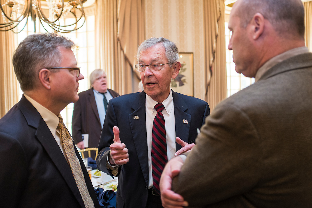 Former Senator George Voinovich chats with attendees after the 32nd Annual Ohio University State Government Alumni Luncheon on Tuesday, May 5, 2015.  Photo by Ohio University  /  Rob Hardin