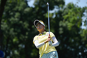 Jul 11, 2015; Lancaster, PA, USA; Chella Choi tees off on the 12th hole during the third round of the 2015 U.S. Women's Open at Lancaster Country Club.