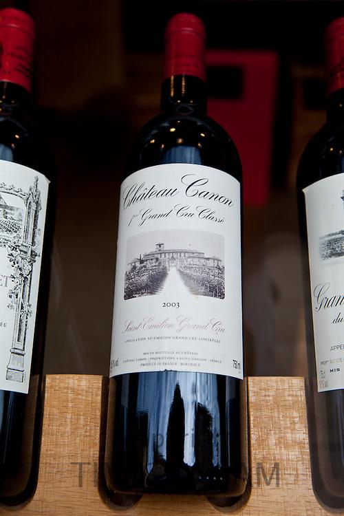 Chateau Canon 1er Grand Cru Classe 2003 vintage in Vignobles et Chateaux wine merchants shop in St Emilion, Bordeaux, France