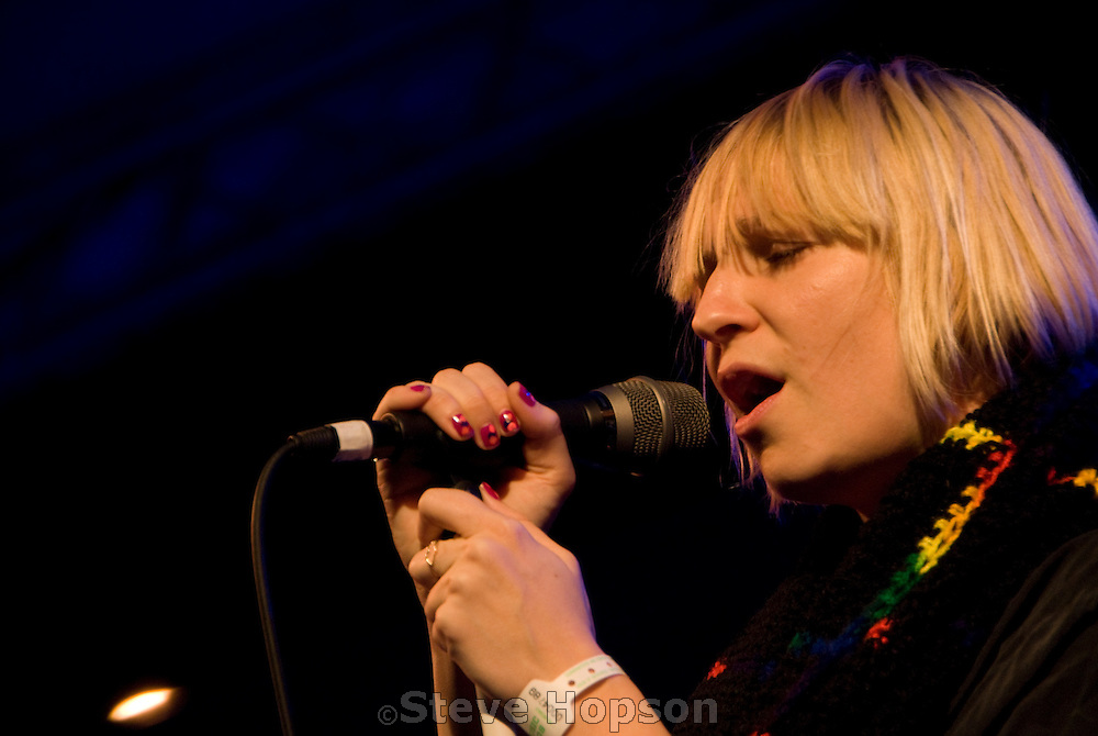 Australian musician, Sia Kate Isobelle Furler, performs at Stubbs BBQ during the South by Southwest music conference in Austin Texas, March 14 2008.
