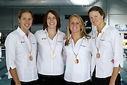 The New Zealand Womens relay team with their medals from the commonwealth games at the 2006 New Zealand Youth and Open Swimming Championships at QEII Leisure Centre, Christchurch on Friday 14 April 2006. Photo: Simon Fergusson/PHOTOSPORT