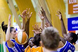 Women at finals match of Slovenian 1st Women league between KK Hit Kranjska Gora and ZKK Merkur Celje, on May 14, 2009, in Arena Vitranc, Kranjska Gora, Slovenia. Merkur Celje won the third time and became Slovenian National Champion. (Photo by Vid Ponikvar / Sportida)