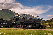 Durango & Silverton Railway, locomotive, leaving Silverton, CO