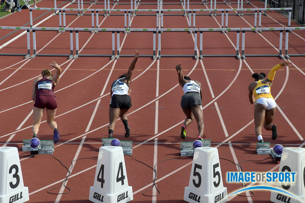 Jun 7, 2018; Eugene, OR, USA; Hurdlers in the starting blocks of a women's 100m hurdles heat during the NCAA Track and Field championships at Hayward Field. From left: Emma Spagnola (Minnesota), Devynne Charlton (Purdue), Janeek Brown (Arkansas) and Dior Hall (Southern California).