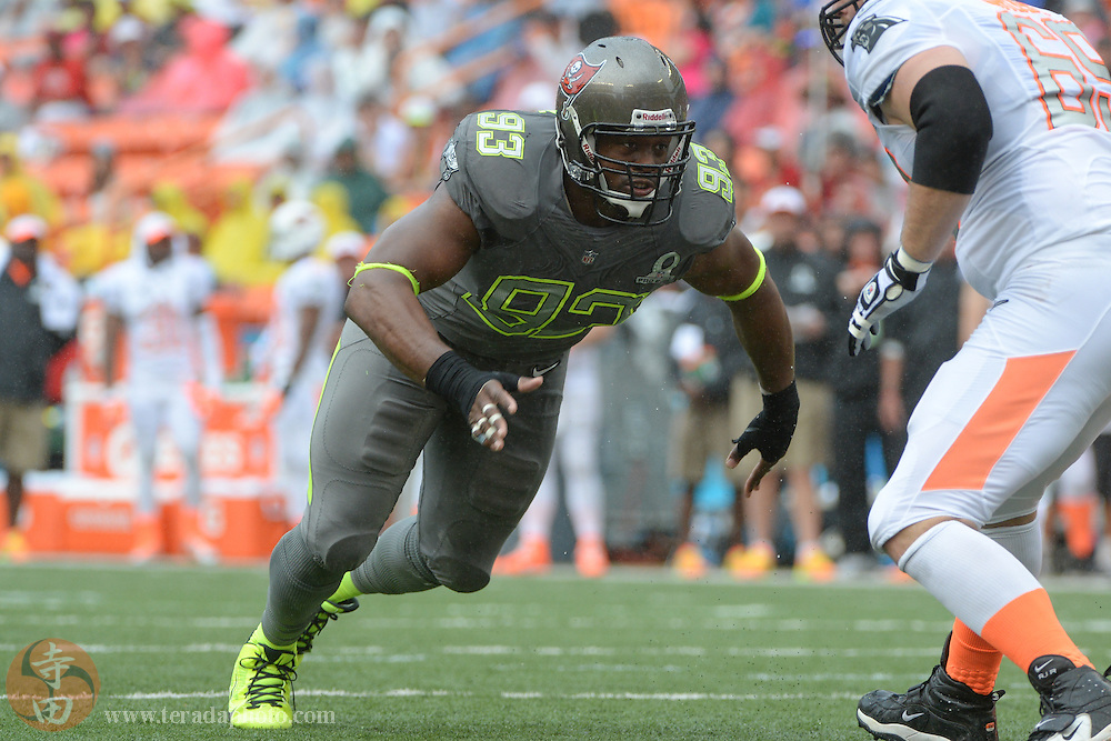January 26, 2014; Honolulu, HI, USA; Team Sanders defensive tackle Gerald McCoy of the Tampa Bay Buccaneers (93) rushes during the third quarter of the 2014 Pro Bowl at Aloha Stadium. Team Rice defeated Team Sanders 22-21.