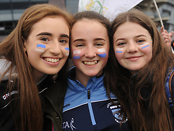 Molly Moore, Shannon Bourke and Sarah Harper pictured at Croke Park supporting Rice College in the Hogan Cup Final<br />