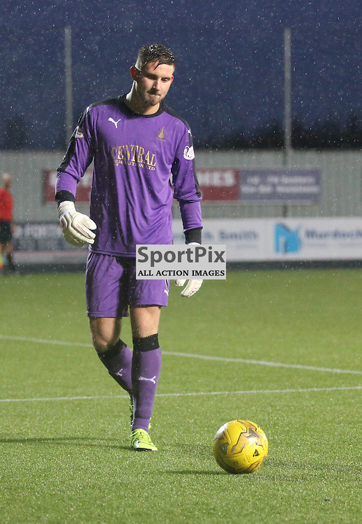 Danny Rogers in a wet and windy Falkirk stadium  during the Falkirk v Dumbarton  Scottish Championship  26  December 2015 <br /> <br /> (c) Andy Scott | SportPix.org.uk