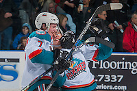 KELOWNA, CANADA - JANUARY 7: Lucas Johansen #7 and Leif Mattson #28 of the Kelowna Rockets celebrate the shoot out win against the Kamloops Blazers on January 7, 2017 at Prospera Place in Kelowna, British Columbia, Canada.  (Photo by Marissa Baecker/Shoot the Breeze)  *** Local Caption ***