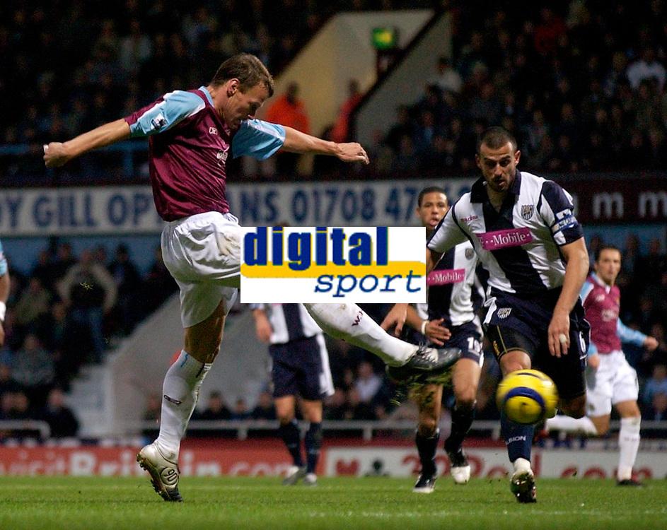 Photo: Daniel Hambury.<br />West Ham Utd v West Bromwich Albion. The Barclays Premiership. 05/11/2005.<br />West Ham's Teddy Sheringham (L) scores the first goal.