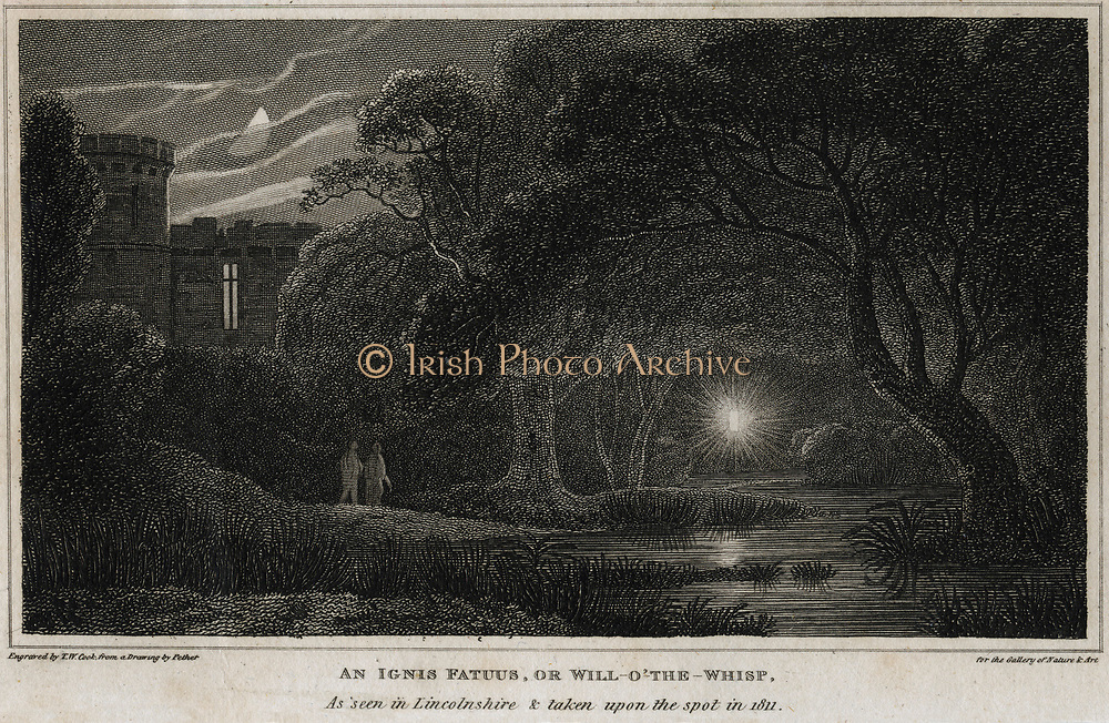 Methane (CH4) also called Marsh Gas or Ignis Fatuus, causing a dancing light in swampy ground known as Will-o-the-Wisp or Jack-o-Lantern. Observed 1811.