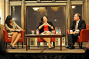 Photo By Michael R. Schmidt-September 21, 2012.Aurora Abella Austriaco President, Chicago Bar Association (left)  Justice Sonia Sotomayor, U.S. Supreme Court,(center) and Robert Clifford, Immediate Past President, Chicago Bar Association (right) have a conversation during their presentation Friday evening during the Just The Beginning Foundation's (JTBF) 10th Biennial & 20th Anniversary Conference at the University Club of Chicago.
