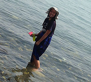 Rising senior Mai Pham (CVHS) wades in the Sea of Galilee.