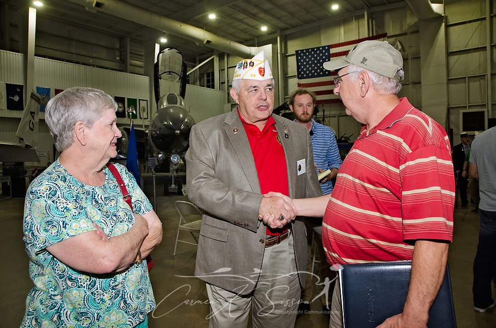 Department of Alabama membership commission chairman Wayne Stacey (center) talks with Shirley Keener and veteran Rodney Keener following the Mobile SWS Town Hall at USS Alabama Battleship Memorial Park in Mobile, Ala., on Friday, April 3, 2017. (Photo by Carmen K. Sisson/Cloudybright)