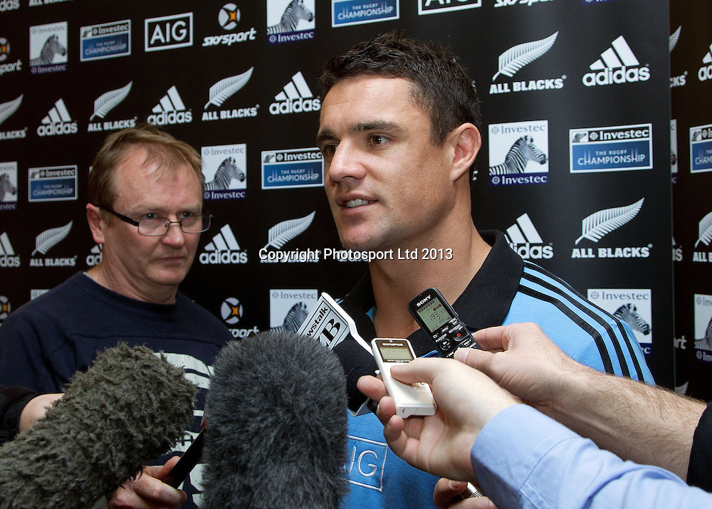 Dan Carter of the All Blacks speaks during a media stand up ahead of their first match of the Investec rugby championship. Intercontinental Hotel, Wellington. 9 August 2013. Photo: Marty Melville/photosport.co.nz