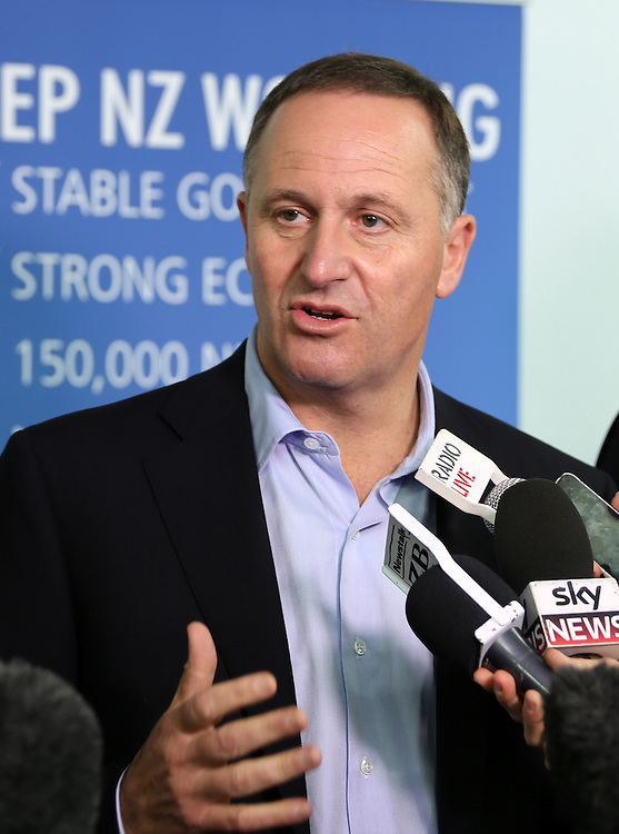 Prime Minister John Key at a stand up media conference at Skyline,, Rotorua, New Zealand, Saturday, September 13, 2014. Credit: SNPA / Peter Graney