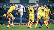 Shane Duffy (Blackburn Wanderers) gets a header in on target during the Sky Bet Championship match between Blackburn Rovers and Rotherham United at Ewood Park, Blackburn, England on 11 December 2015. Photo by Mark P Doherty.