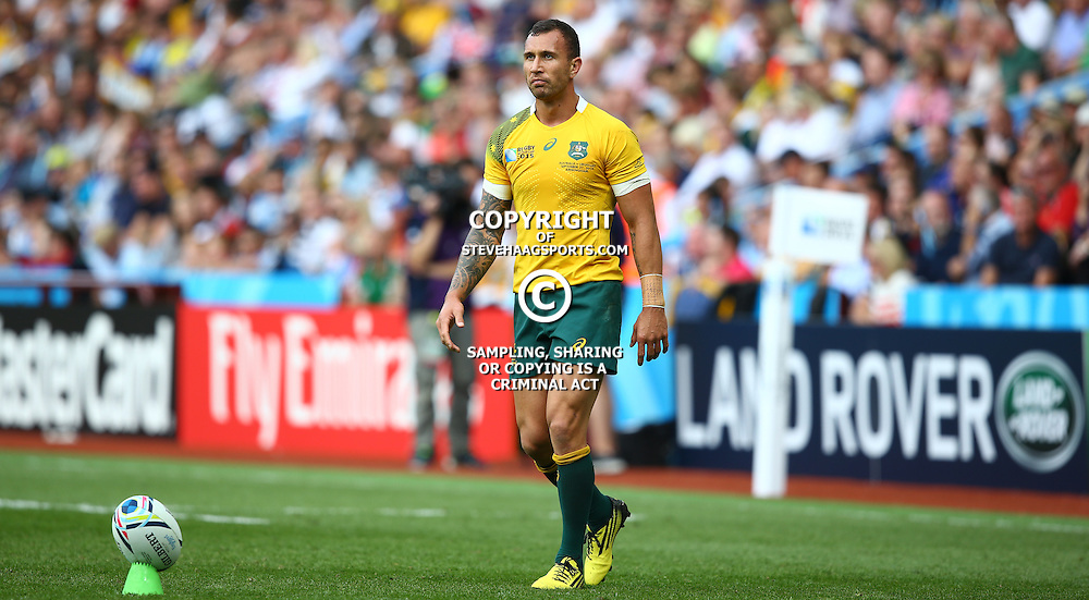 BIRMINGHAM, ENGLAND - SEPTEMBER 27: Quade Cooper of Australia during the Rugby World Cup 2015 Pool A match between Australia and Uruguay at Villa Park on September 27, 2015 in Birmingham, England. (Photo by Steve Haag/Gallo Images)