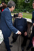 SONNY MEHTA; V.S. NAIPAUL; ; , David Campbell and Knopf host the 20th Anniversary of the revival of Everyman's Library. Spencer House. St. James's Place. London. 7 July 2011. <br /> <br />  , -DO NOT ARCHIVE-© Copyright Photograph by Dafydd Jones. 248 Clapham Rd. London SW9 0PZ. Tel 0207 820 0771. www.dafjones.com.