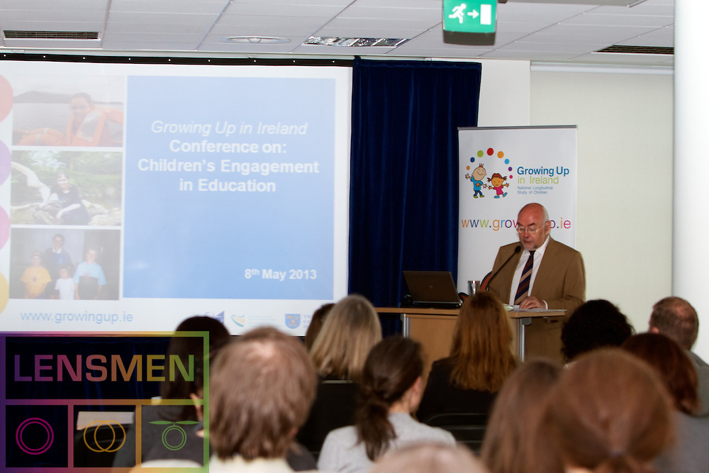 Growing Up in Ireland Conference on: 'Children's Engagement in Education'. .Date: Wednesday 8th May 2013.Time: 8.50-13.00.Location:  ESRI, Whitaker Square, Sir John Rogerson's Quay, Dublin 2, Ireland.. .Mr Ruairi Quinn T.D., Minister for Education and Skills, will open this conference on 'Children's Engagement in Education' (please see attached programme). The conference will be addressed by Professor Pamela Sammons, the distinguished educational researcher from Oxford University; by researchers from the ESRI and by Dr Sarah Fitzpatrick, Deputy CEO of the National Council of Curriculum and Assessment...Pictured at the Growing Up in Ireland Conference on:'Children's.Engagement in Education'..Professor Emer Smyth, Head of Social Research Division, Economic and Social Research.Institute, Dublin. .Mr. Ruairí Quinn T.D., Minister for Education and Skills. .Professor Frances Ruane, Director, Economic and Social Research Institute, Dublin..Professor James Williams, Principal Investigator Growing Up in Ireland,  Economic and.Social Research Institute.. .The conference aims to highlight the insights of the Growing Up in Ireland study for educational policy in Ireland. The conference uses data from the Growing Up in Ireland child cohort study to explore three main themes:. .1.      Gender: whether boys and girls have different experiences in primary school.. .2.      Special Educational Needs: whether children with special educational needs differ from their peers in their degree of engagement with school.. .3.      Social Background and School Social Mix: whether the concentration of disadvantaged children in particular schools affects children's educational experiences and outcomes.. .Please find below short embargoed summaries of the four main presentations to be given at the conference.. .Presentation slides will be available to download from www.growingup.ie on the day of the event (May 8th). Members of the Media are invited to attend the Conference.. .Keynote Speaker:
