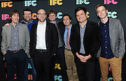 "The cast of IFC's ""The Birthday Boys"" attend the IFC Upfront 2014 event, Thursday, March 20, 2014, at Roseland Ballroom in New York.  From left to right are Mike Hanford, Mike Mitchell, Chris Vanartsdalen, Jefferson Dutton, Matt Kowalick, Tim Kalpakis and Dave Ferguson. (Photo by Diane Bondareff/Invision for IFC/AP Images)"