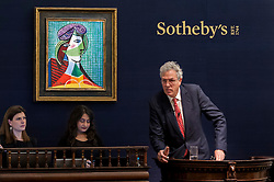 "© Licensed to London News Pictures. 03/03/2016. London, UK.  Pablo Picasso's ""Tête de Femme"" being auctioned for a hammer price of £16.7m at Sotheby's Impressionist, Modern & Surrealist art evening sales in New Bond Street.  The combined total of the sale was forecast to realise between £97-138m. Photo credit : Stephen Chung/LNP"