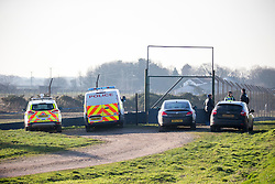 © Licensed to London News Pictures. 25/01/2017. Pilling UK. Picture shows police at a Pheasant farm in Pilling where the H5N8 strain of Avian Flu was confirmed by the UK's chief veterinary officer. a number of the farmed breeding pheasants at the premises have died & those remaining will be culled. A 3km protection zone & a 10km surveillance zone have been put in place around the infected area to limit the risk of the disease. Photo credit: Andrew McCaren/LNP