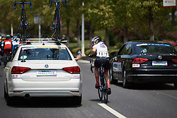 Lea Lin Teutenberg (GER) comes back to the team car for more bottles at Tour of Chongming Island 2019 - Stage 2, a 126.6 km road race from Changxing Island to Chongming Island, China on May 10, 2019. Photo by Sean Robinson/velofocus.com