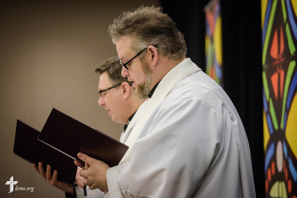 The Rev. Michael Brown, pastor of Redeemer Lutheran Church, Lincoln, Neb., and the Rev. Christopher Esget, LCMS sixth vice-president and pastor of Immanuel Evangelical-Lutheran Church, Alexandria, Va., lead Matins at the 2017 LCMS Life Conference on Saturday, Jan. 28, 2017, in Arlington, Va. LCMS Communications/Erik M. Lunsford