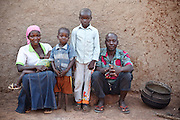 Abdulai Sadia with her husband and three children at their home  in the community of Kunayili, near Gushegu, Northern Ghana, on Wednesday November 2, 2011.