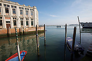 Giudecca. Tourist house boat passing the lagoon.