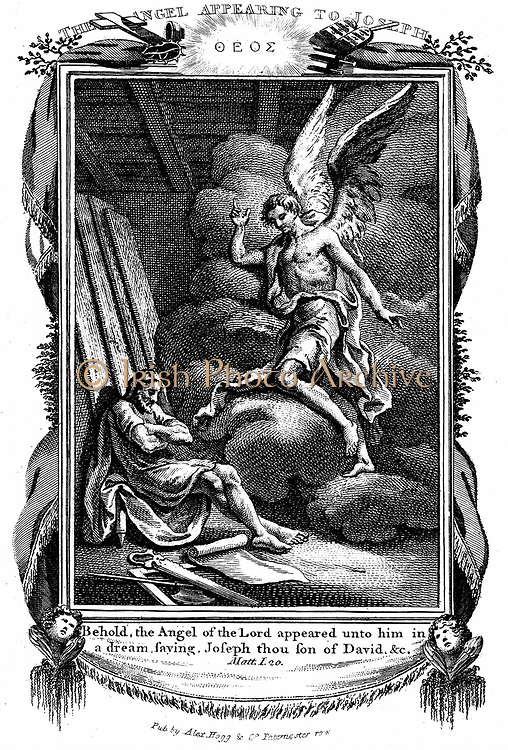 Joseph's dream. 'Behold, the Angel of the Lord appeared unto him in a dream'  'Bible' Matthew I. Copperplate engraving 1804.
