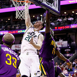 Feb 8, 2017; New Orleans, LA, USA; Utah Jazz forward Gordon Hayward (20) shoots over New Orleans Pelicans guard Jrue Holiday (11) during the second half of a game at the Smoothie King Center. The Jazz defeated the Pelicans 127-94.  Mandatory Credit: Derick E. Hingle-USA TODAY Sports