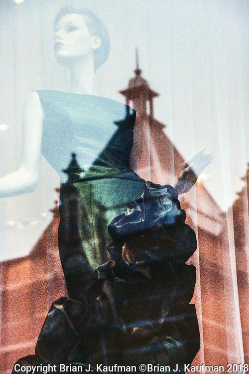 Dress shop reflecting the Amsterdam skyline.