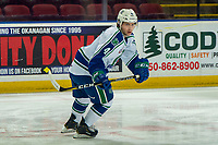 KELOWNA, BC - OCTOBER 16:  Billy Sowa #4 of the Swift Current Broncos warms up against the Kelowna Rockets at Prospera Place on October 16, 2019 in Kelowna, Canada. (Photo by Marissa Baecker/Shoot the Breeze)