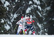 KUUSAMO, FINLAND - 2017-11-26: Charlotte Kalla och Marit Bj&ouml;rgen, Norge under damernas l&auml;ngdkid&aring;kning 10km jaktstart under FIS World Cup Ruka Nordic p&aring; Ruka Stadium den 26 November, 2017 i Kuusamo, Finland.<br /> Foto: Nils Petter Nilsson/Ombrello<br /> ***BETALBILD***