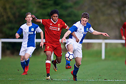 BLACKBURN, ENGLAND - Saturday, January 6, 2018: Liverpool's Yasser Larouci during an Under-18 FA Premier League match between Blackburn Rovers FC and Liverpool FC at Brockhall Village Training Ground. (Pic by David Rawcliffe/Propaganda)