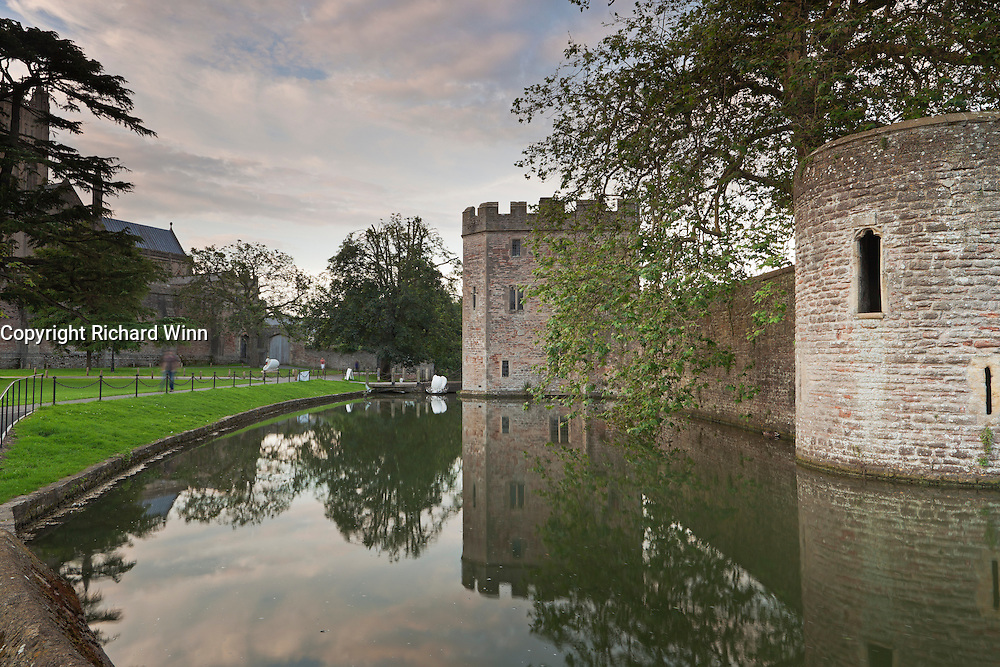 View of the northern boundary of the moat surrounding the Bishops Palace, looking northeast.