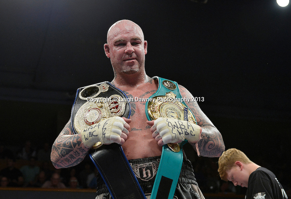 Lucas Browne defeats Andriy Rudenko for the WBA Intercontinental & WBC EUR-ASIA- Pacific Heavyweight Championship at Wolverhampton Civic Hall, Wolverhampton, 1st August 2014. Promoted by Ricky Hatton on the Frank Warren in association with PJ Promotions bill. © Credit: Leigh Dawney Photography.