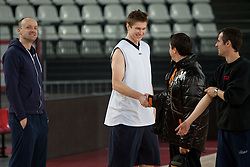 Head coach of Olimpija Jure Zdovc, Vladimer Boisa of Olimpija, head coach of Lottomatica Saso Filipovski and assistant coach of Olimpija Miro Alilovic during practice session of basketball club KK Union Olimpija day before Euroleague Top 16 Round Match vs Lottomatica Roma, on January 19, 2011 in Arena PalaLottomatica, Rome, Italy. (Photo By Vid Ponikvar / Sportida.com)