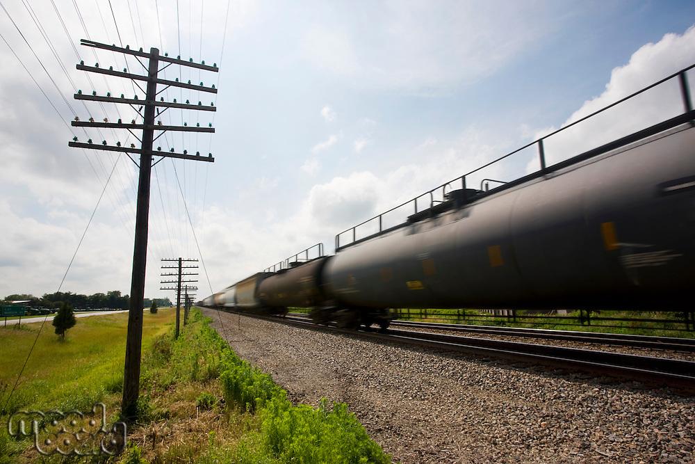 Illinois USA freight train in motion