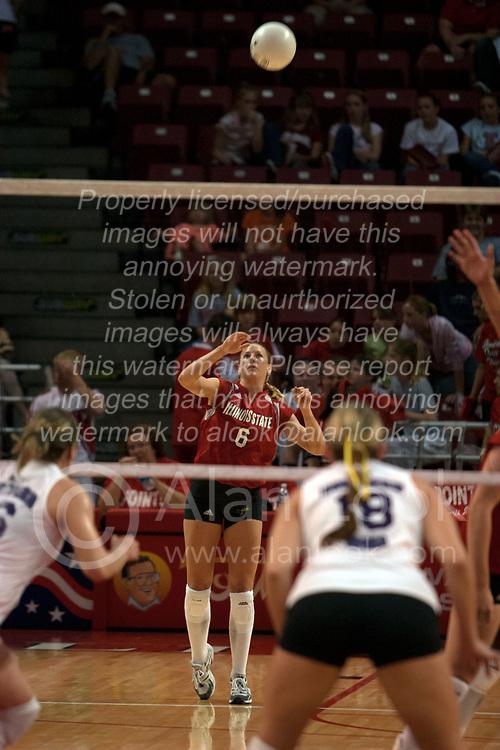 25 September 2004     Kelly Rikli serves.    Illinois State University Redbirds V University of Northern Iowa Panthers Volleyball.  Redbird Arena, Illinois State University, Normal IL